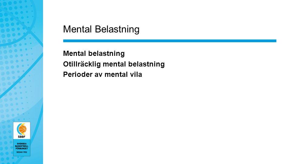 Mental Belastning Mental belastning Otillräcklig mental belastning Perioder av mental vila