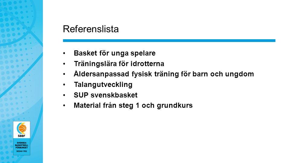Referenslista Basket för unga spelare Träningslära för idrotterna Åldersanpassad fysisk träning för barn och ungdom Talangutveckling SUP svenskbasket Material från steg 1 och grundkurs