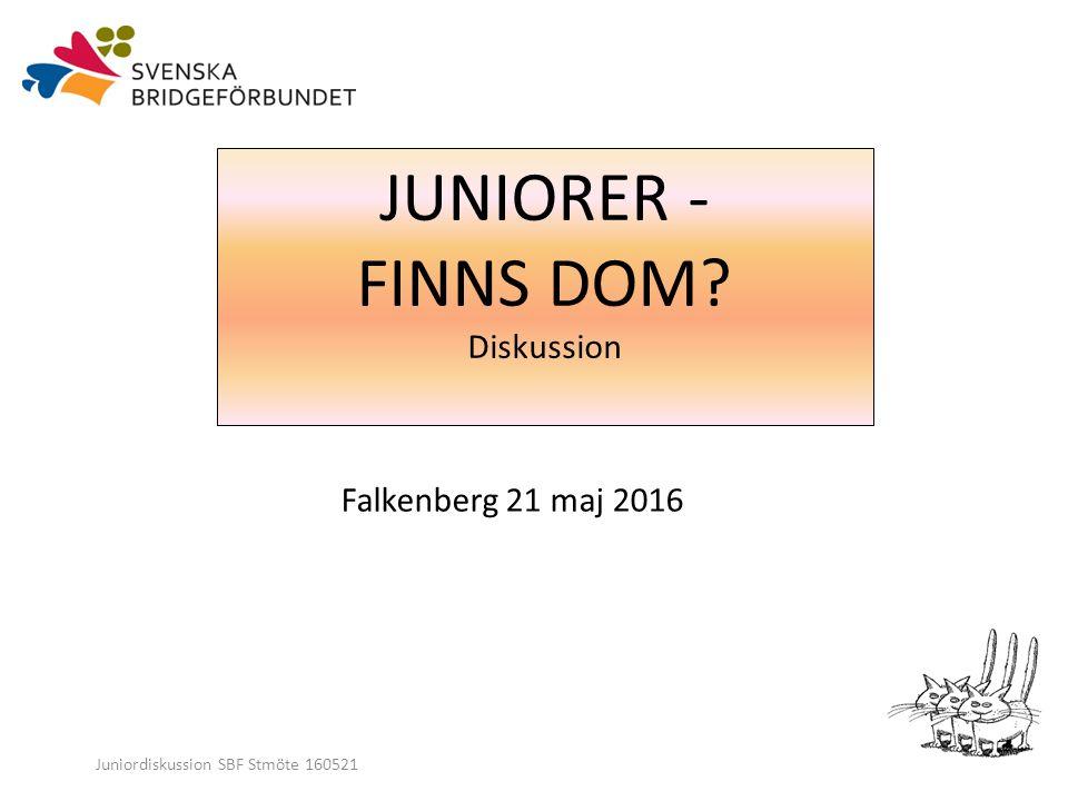 Juniordiskussion SBF Stmöte 160521 JUNIORER - FINNS DOM Diskussion Falkenberg 21 maj 2016
