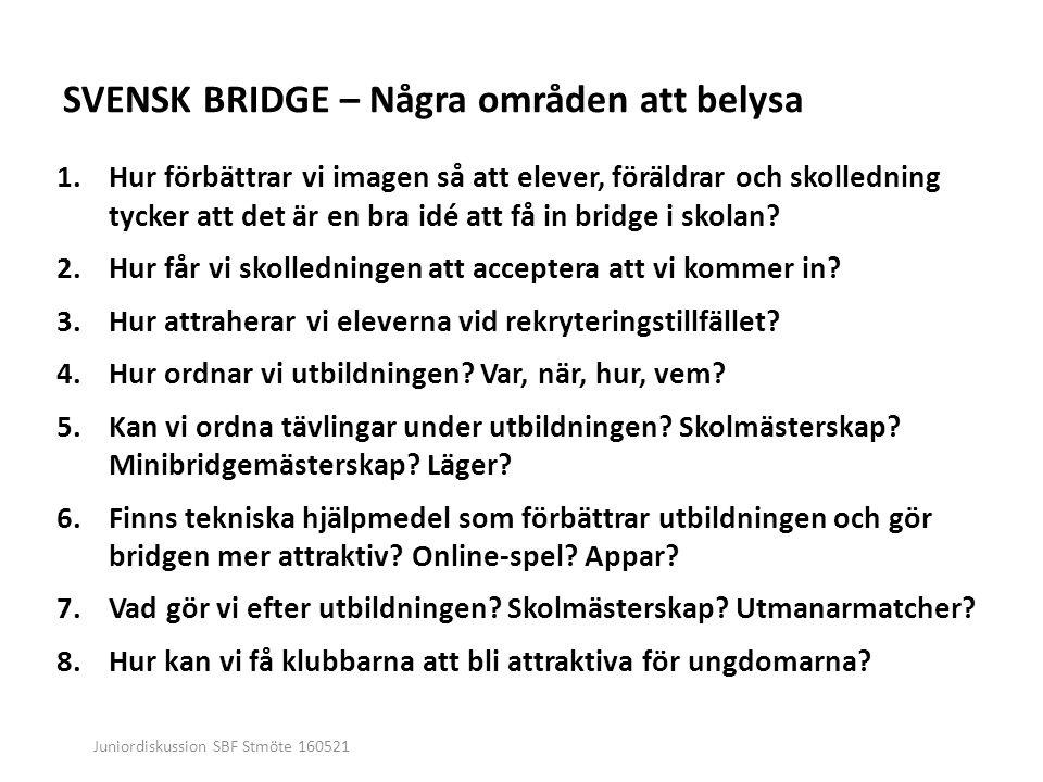 Juniordiskussion SBF Stmöte 160521 SVENSK BRIDGE – Några områden att belysa 1.Hur förbättrar vi imagen så att elever, föräldrar och skolledning tycker att det är en bra idé att få in bridge i skolan.