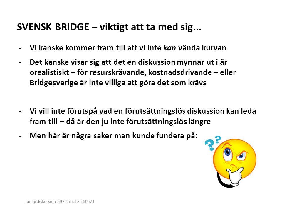 Juniordiskussion SBF Stmöte 160521 SVENSK BRIDGE – viktigt att ta med sig...