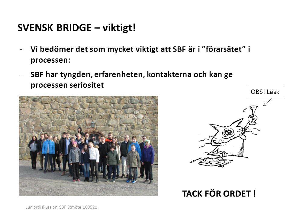 Juniordiskussion SBF Stmöte 160521 SVENSK BRIDGE – viktigt.