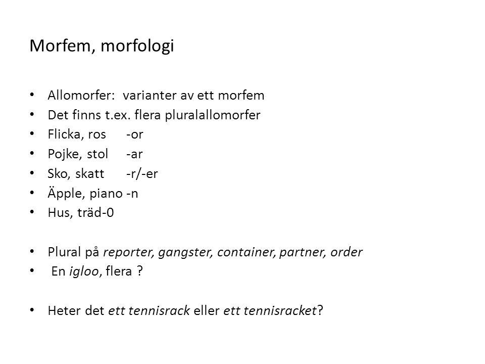 Morfem, morfologi Allomorfer: varianter av ett morfem Det finns t.ex. flera pluralallomorfer Flicka, ros-or Pojke, stol-ar Sko, skatt-r/-er Äpple, pia