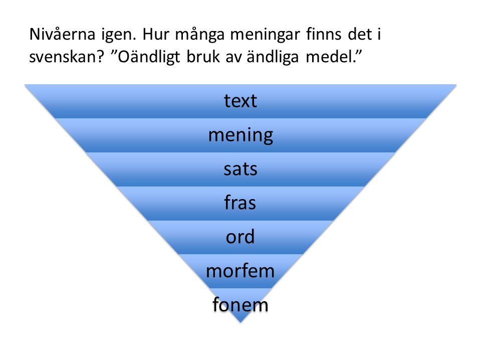 Nivåerna igen. Hur många meningar finns det i svenskan.
