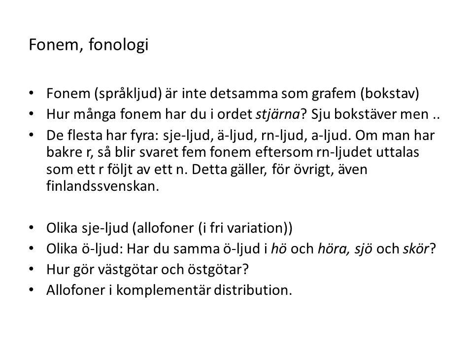 Fonem, fonologi Fonem (språkljud) är inte detsamma som grafem (bokstav) Hur många fonem har du i ordet stjärna.