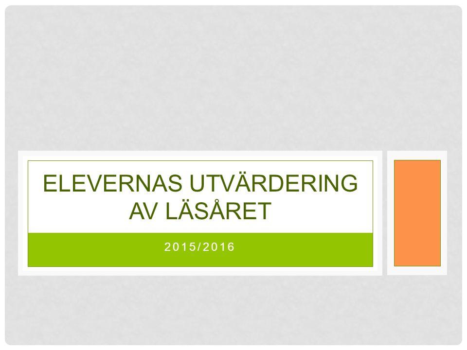 2015/2016 ELEVERNAS UTVÄRDERING AV LÄSÅRET