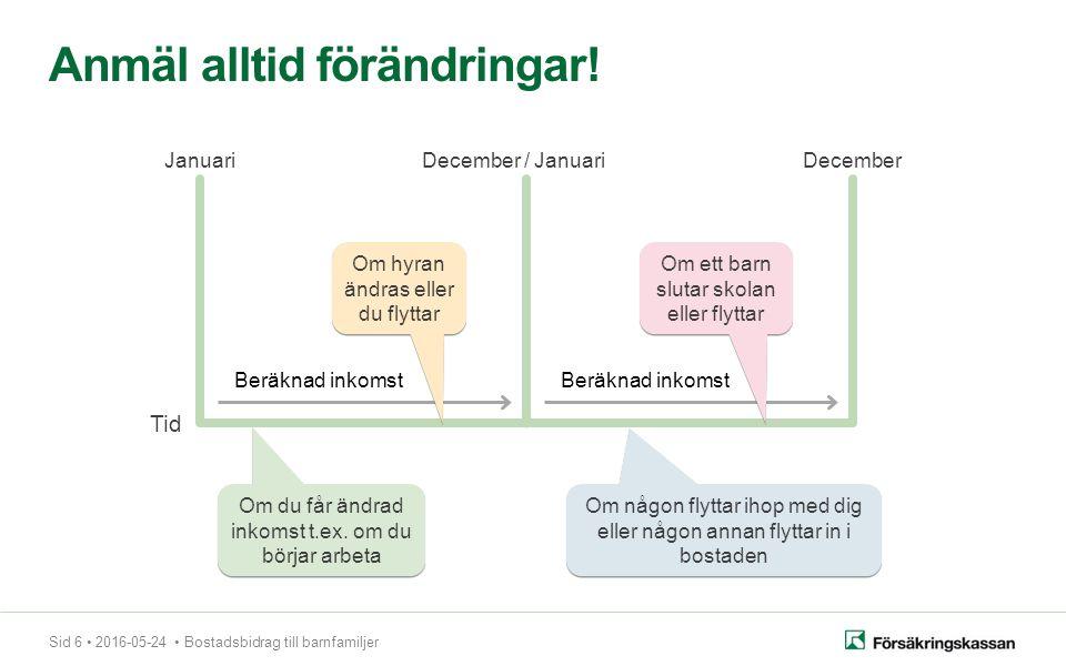 Sid 6 2016-05-24 Bostadsbidrag till barnfamiljer Anmäl alltid förändringar.