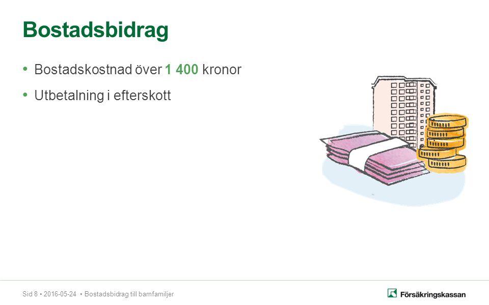 Sid 8 2016-05-24 Bostadsbidrag till barnfamiljer Bostadskostnad över 1 400 kronor Utbetalning i efterskott Bostadsbidrag