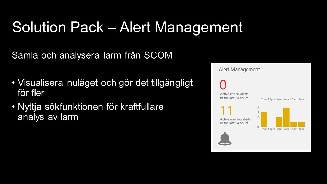 Solution Pack – Alert Management Samla och analysera larm från SCOM Visualisera nuläget och gör det tillgängligt för fler Nyttja sökfunktionen för kraftfullare analys av larm