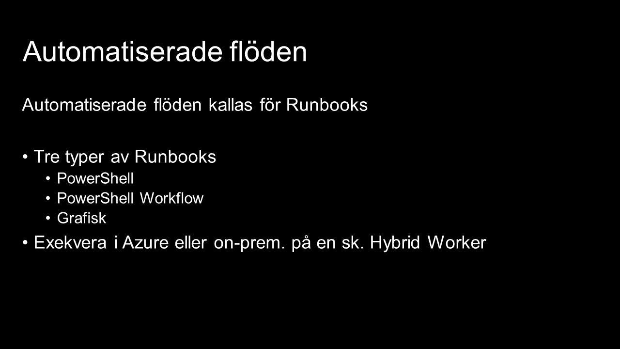 Automatiserade flöden Automatiserade flöden kallas för Runbooks Tre typer av Runbooks PowerShell PowerShell Workflow Grafisk Exekvera i Azure eller on-prem.