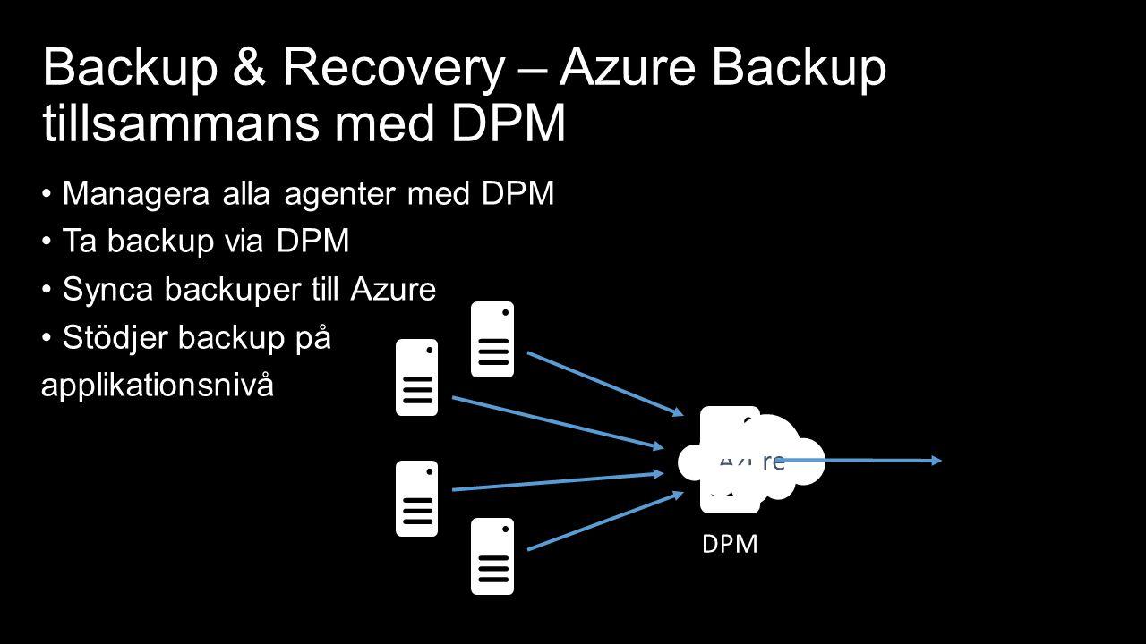 Backup & Recovery – Azure Backup tillsammans med DPM Azure DPM Managera alla agenter med DPM Ta backup via DPM Synca backuper till Azure Stödjer backup på applikationsnivå