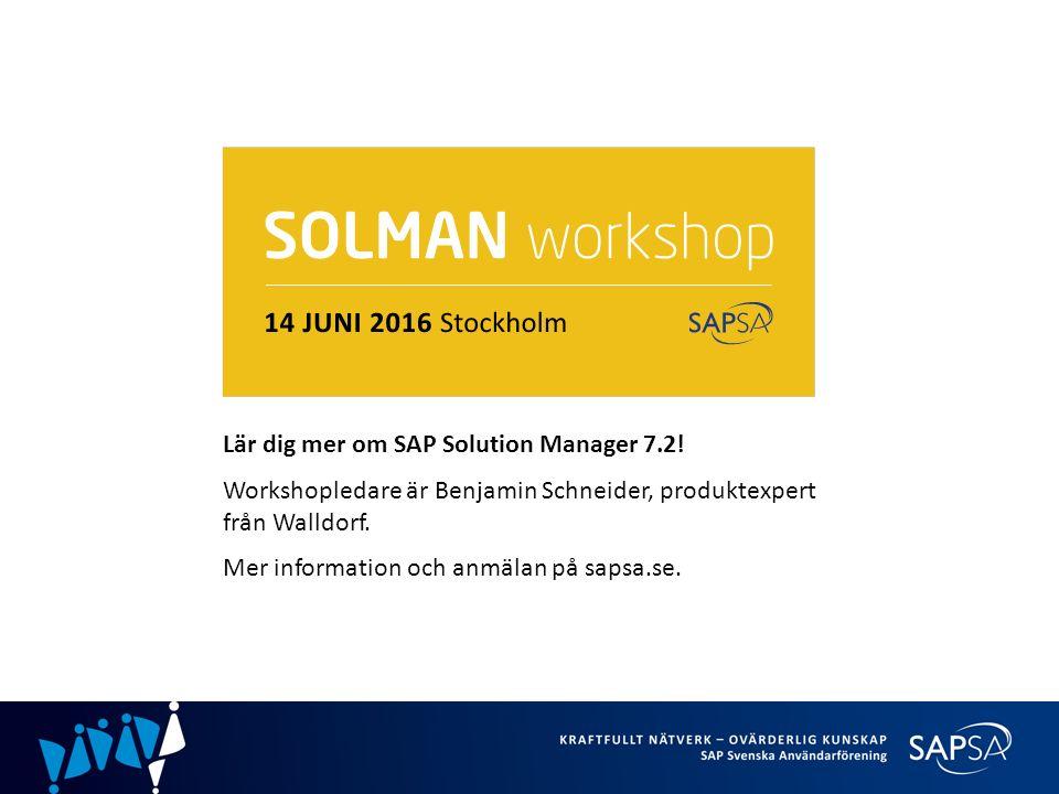 Lär dig mer om SAP Solution Manager 7.2.