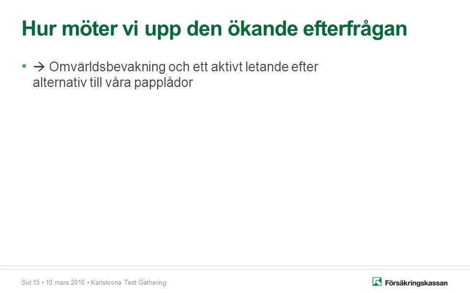 Sid 15 10 mars 2016 Karlskrona Test Gathering  Omvärldsbevakning och ett aktivt letande efter alternativ till våra papplådor Hur möter vi upp den ökande efterfrågan