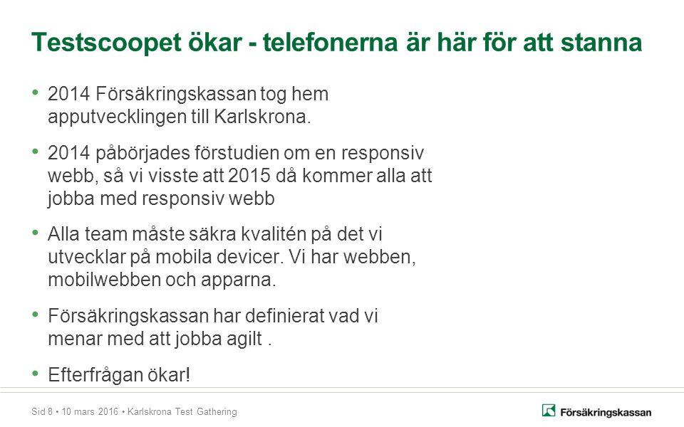 Sid 8 10 mars 2016 Karlskrona Test Gathering Testscoopet ökar - telefonerna är här för att stanna 2014 Försäkringskassan tog hem apputvecklingen till Karlskrona.
