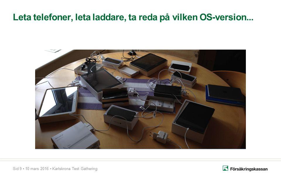 Sid 9 10 mars 2016 Karlskrona Test Gathering Leta telefoner, leta laddare, ta reda på vilken OS-version...