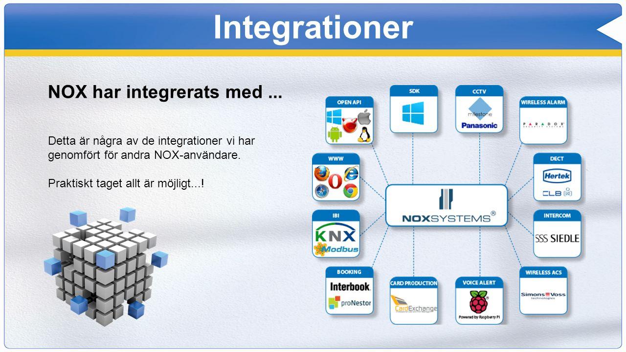 Integrationer NOX har integrerats med... Detta är några av de integrationer vi har genomfört för andra NOX-användare. Praktiskt taget allt är möjligt.