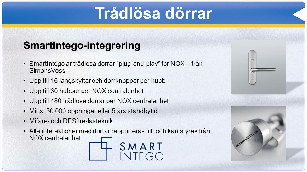 """Trådlösa dörrar SmartIntego-integrering SmartIntego är trådlösa dörrar """"plug-and-play"""" för NOX – från SimonsVoss Upp till 16 långskyltar och dörrknopp"""