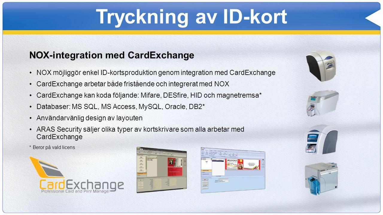 Tryckning av ID-kort NOX-integration med CardExchange NOX möjliggör enkel ID-kortsproduktion genom integration med CardExchange CardExchange arbetar b