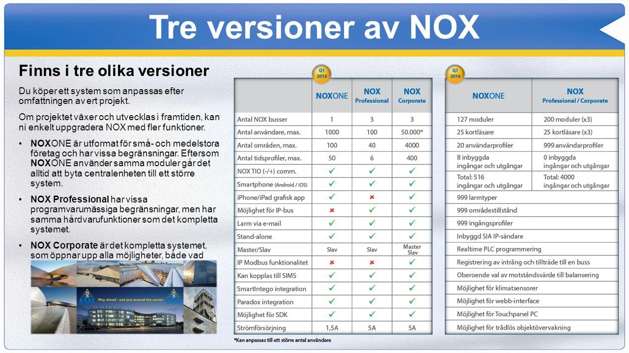 Tre versioner av NOX Finns i tre olika versioner Du köper ett system som anpassas efter omfattningen av ert projekt. Om projektet växer och utvecklas