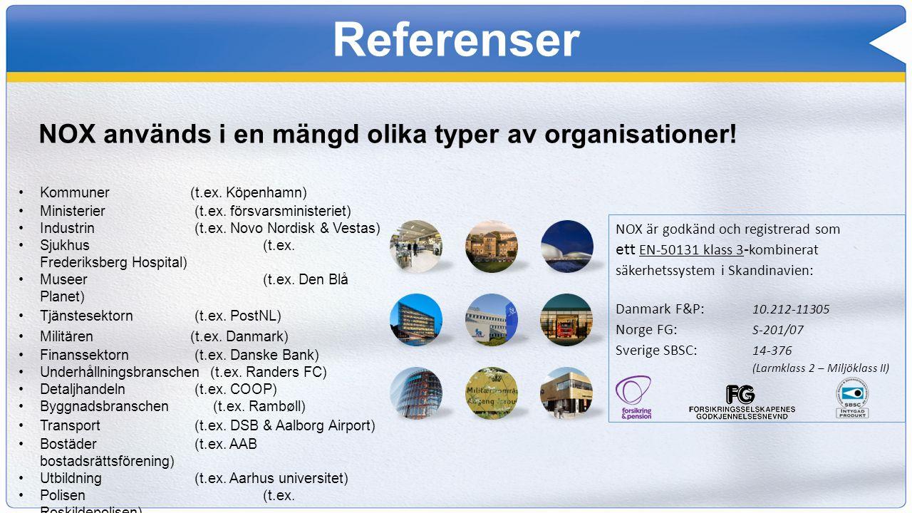 Referenser NOX används i en mängd olika typer av organisationer! Kommuner (t.ex. Köpenhamn) Ministerier (t.ex. försvarsministeriet) Industrin (t.ex. N