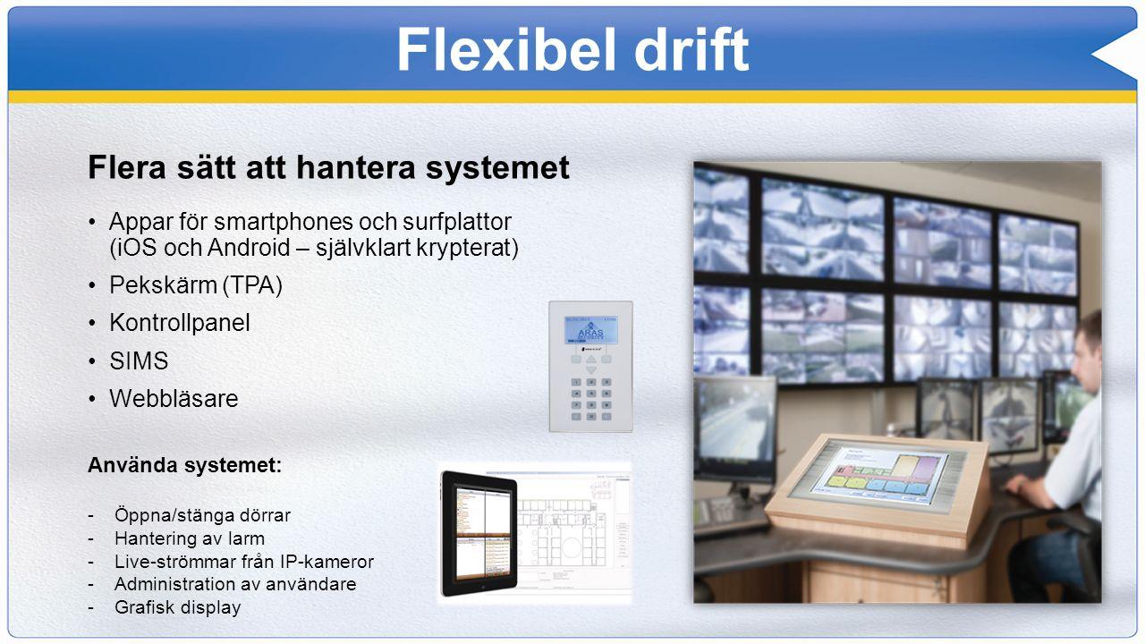 Flexibel drift Flera sätt att hantera systemet Appar för smartphones och surfplattor (iOS och Android – självklart krypterat) Pekskärm (TPA) Kontrollp