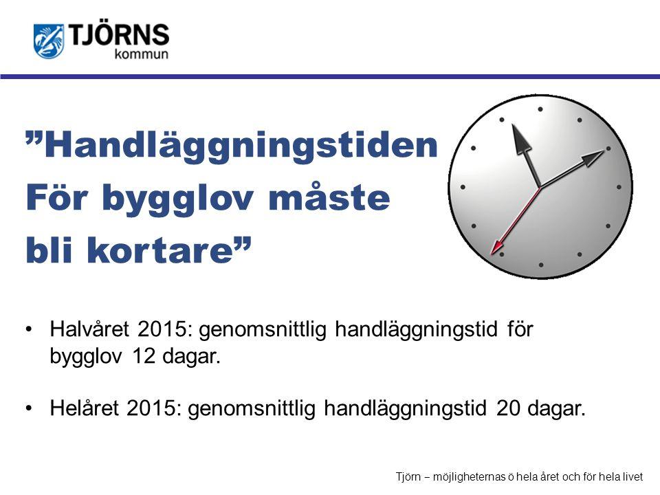 """Möjligheternas ö """"Handläggningstiden För bygglov måste bli kortare"""" Halvåret 2015: genomsnittlig handläggningstid för bygglov 12 dagar. Helåret 2015:"""