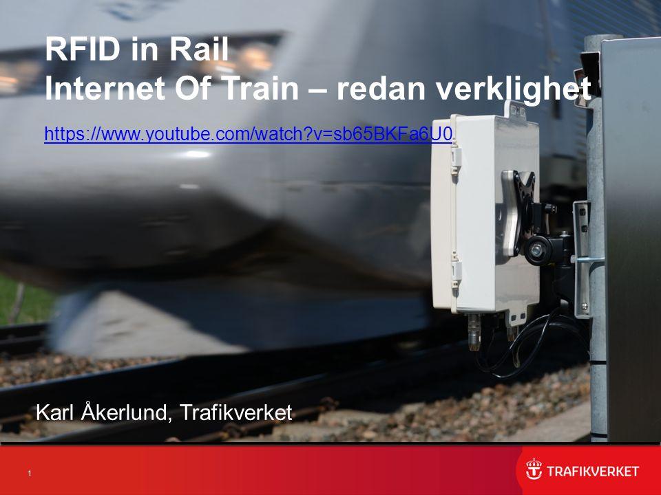12 Identifiering och positionering av järnvägsfordon EPCIS -Fordons ID, Plats, Tid, Riktning -Varmgång, Tjuvbroms, Hjulskada -Till vem, Vilken information, Hur RFID-tagg på fordon enligt GS1 standard (ca 40 kr/st) -Fordonsnummer EVN -Företagsprefix (fordonsägare/järnvägsföretag) Prenumerationsunderlag HRMS urn:epc:id:giai:007332993.1947444037362