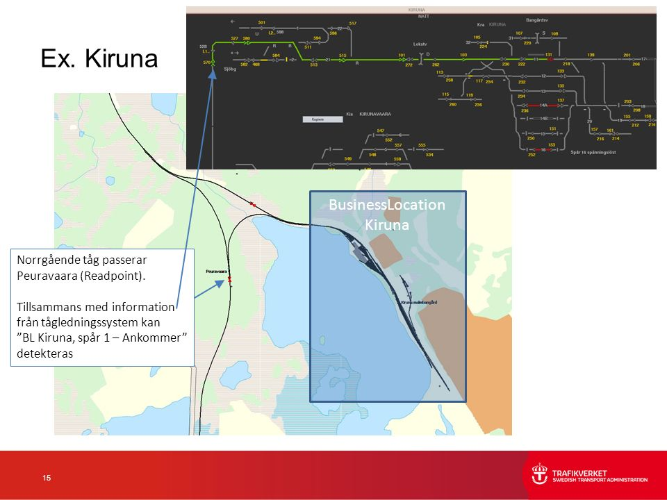 15 Ex. Kiruna BusinessLocation Kiruna Norrgående tåg passerar Peuravaara (Readpoint).