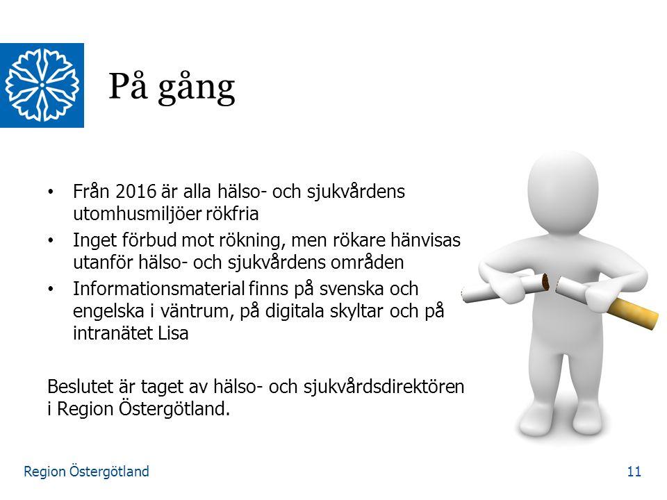Region Östergötland Från 2016 är alla hälso- och sjukvårdens utomhusmiljöer rökfria Inget förbud mot rökning, men rökare hänvisas utanför hälso- och s