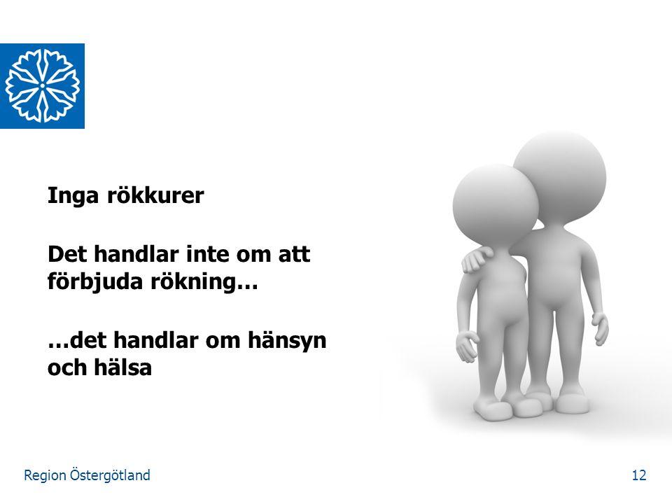 Region Östergötland Inga rökkurer Det handlar inte om att förbjuda rökning… …det handlar om hänsyn och hälsa 12