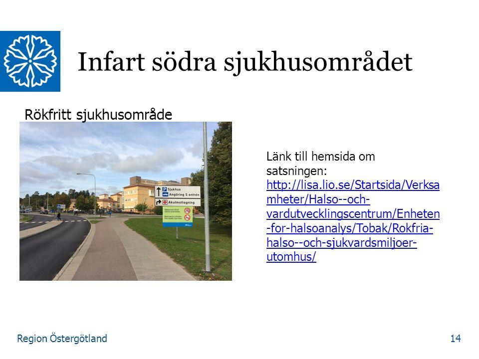 Region Östergötland Infart södra sjukhusområdet 14 Rökfritt sjukhusområde Länk till hemsida om satsningen: http://lisa.lio.se/Startsida/Verksa mheter/