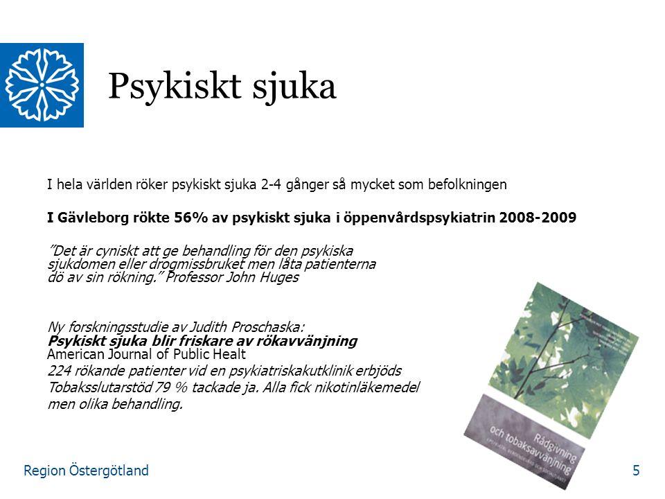 Region Östergötland I hela världen röker psykiskt sjuka 2-4 gånger så mycket som befolkningen I Gävleborg rökte 56% av psykiskt sjuka i öppenvårdspsyk