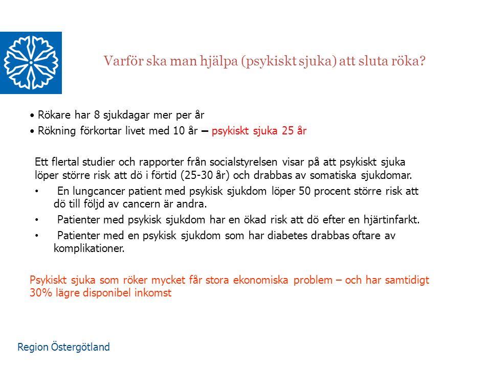 Region Östergötland Varför ska man hjälpa (psykiskt sjuka) att sluta röka? Rökare har 8 sjukdagar mer per år Rökning förkortar livet med 10 år – psyki