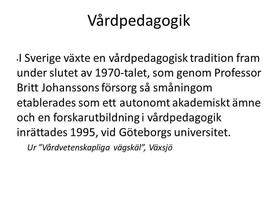 I Sverige växte en vårdpedagogisk tradition fram under slutet av 1970-talet, som genom Professor Britt Johanssons försorg så småningom etablerades som ett autonomt akademiskt ämne och en forskarutbildning i vårdpedagogik inrättades 1995, vid Göteborgs universitet.