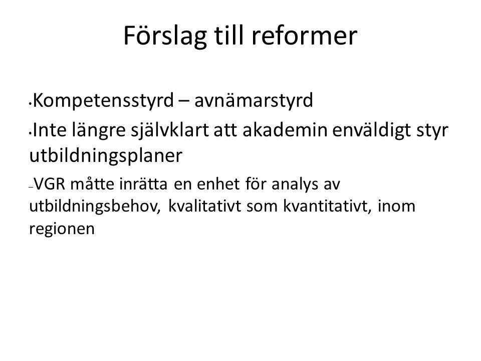 Förslag till reformer Kompetensstyrd – avnämarstyrd Inte längre självklart att akademin enväldigt styr utbildningsplaner – VGR måtte inrätta en enhet