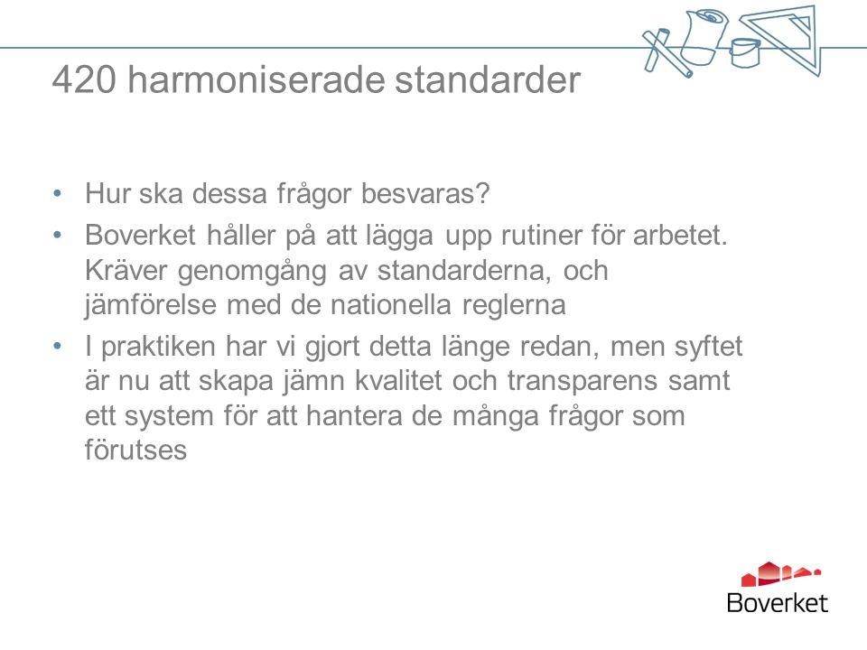 420 harmoniserade standarder Hur ska dessa frågor besvaras.