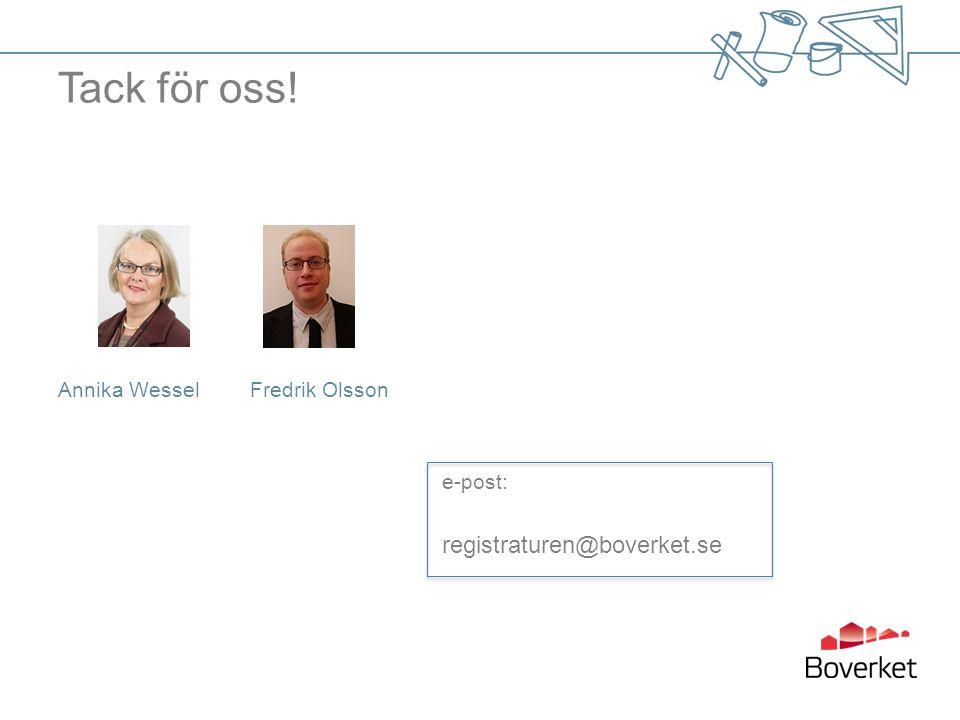 Tack för oss! Annika WesselFredrik Olsson e-post: registraturen@boverket.se