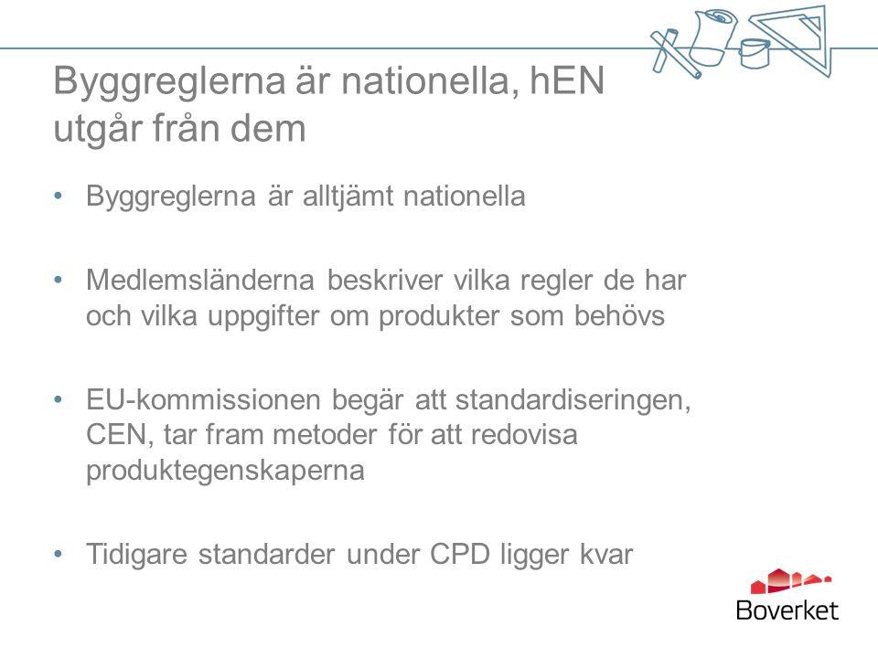 Byggreglerna är nationella, hEN utgår från dem Byggreglerna är alltjämt nationella Medlemsländerna beskriver vilka regler de har och vilka uppgifter om produkter som behövs EU-kommissionen begär att standardiseringen, CEN, tar fram metoder för att redovisa produktegenskaperna Tidigare standarder under CPD ligger kvar