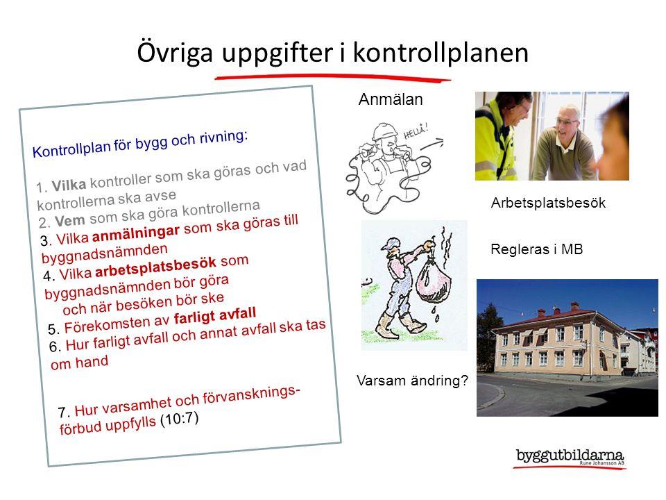 Kontrollplan för bygg och rivning: 1.