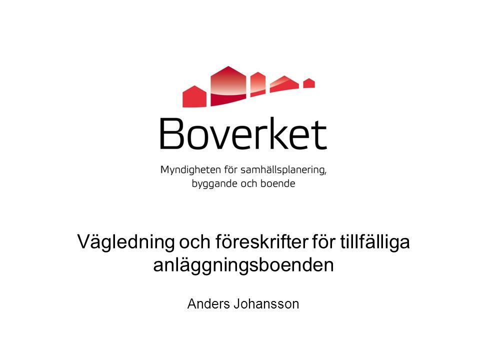 Vägledning och föreskrifter för tillfälliga anläggningsboenden Anders Johansson