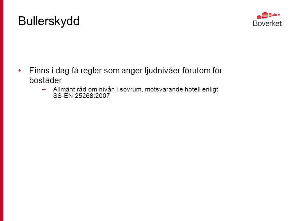Bullerskydd Finns i dag få regler som anger ljudnivåer förutom för bostäder –Allmänt råd om nivån i sovrum, motsvarande hotell enligt SS-EN 25268:2007
