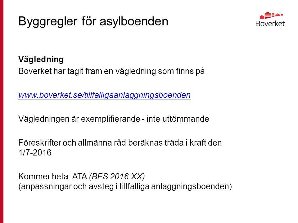 Byggregler för asylboenden Vägledning Boverket har tagit fram en vägledning som finns på www.boverket.se/tillfalligaanlaggningsboenden Vägledningen är exemplifierande - inte uttömmande Föreskrifter och allmänna råd beräknas träda i kraft den 1/7-2016 Kommer heta ATA (BFS 2016:XX) (anpassningar och avsteg i tillfälliga anläggningsboenden)