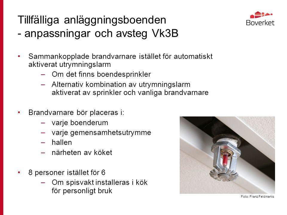 Tillfälliga anläggningsboenden - anpassningar och avsteg Vk3B Sammankopplade brandvarnare istället för automatiskt aktiverat utrymningslarm –Om det finns boendesprinkler –Alternativ kombination av utrymningslarm aktiverat av sprinkler och vanliga brandvarnare Brandvarnare bör placeras i: –varje boenderum –varje gemensamhetsutrymme –hallen –närheten av köket 8 personer istället för 6 –Om spisvakt installeras i kök för personligt bruk Foto: Franz Feldmanis