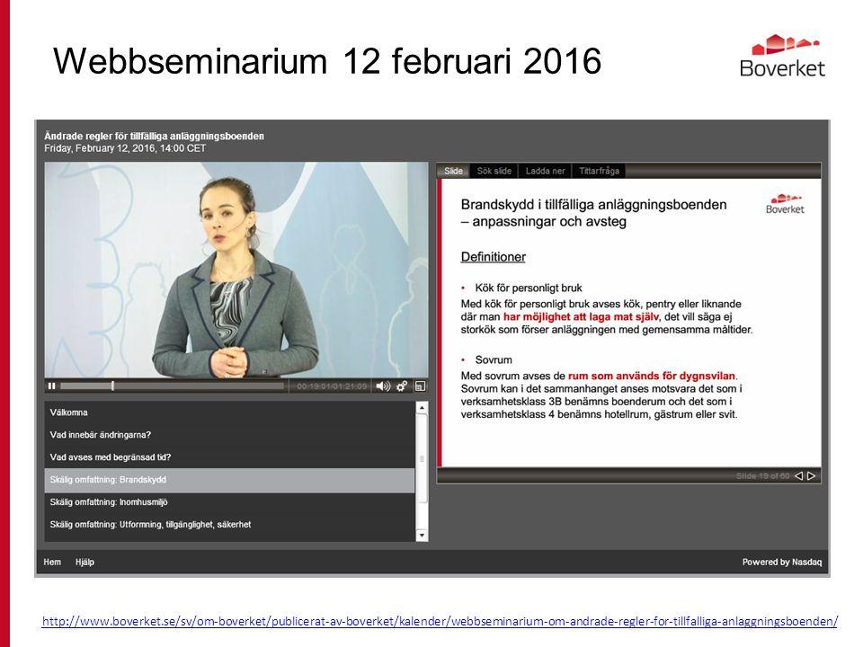 Webbseminarium 12 februari 2016 http://www.boverket.se/sv/om-boverket/publicerat-av-boverket/kalender/webbseminarium-om-andrade-regler-for-tillfalliga-anlaggningsboenden/