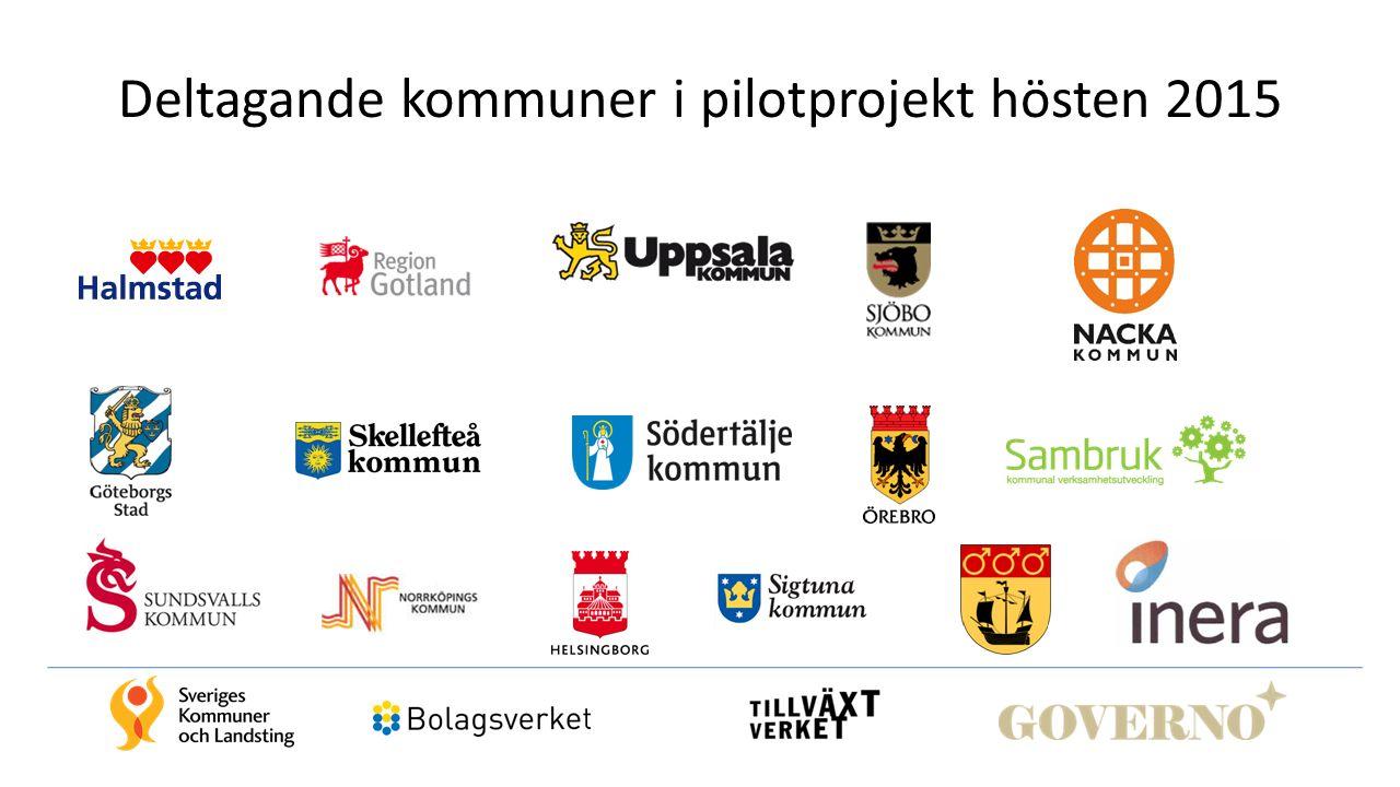 Deltagande kommuner i pilotprojekt hösten 2015