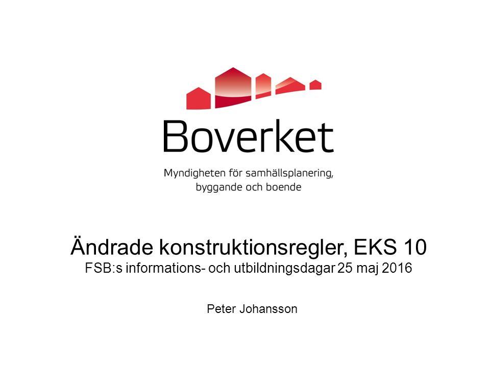 EKS 10 - Kompletteringar och förtydliganden Krav vid ändring av byggnader har införts (lika som i BBR) Regler om dimensioneringskontroll, utförandekontroll och konstruktionsdokumentation Ny rubriksättning och enhetligare indelning av avsnitten