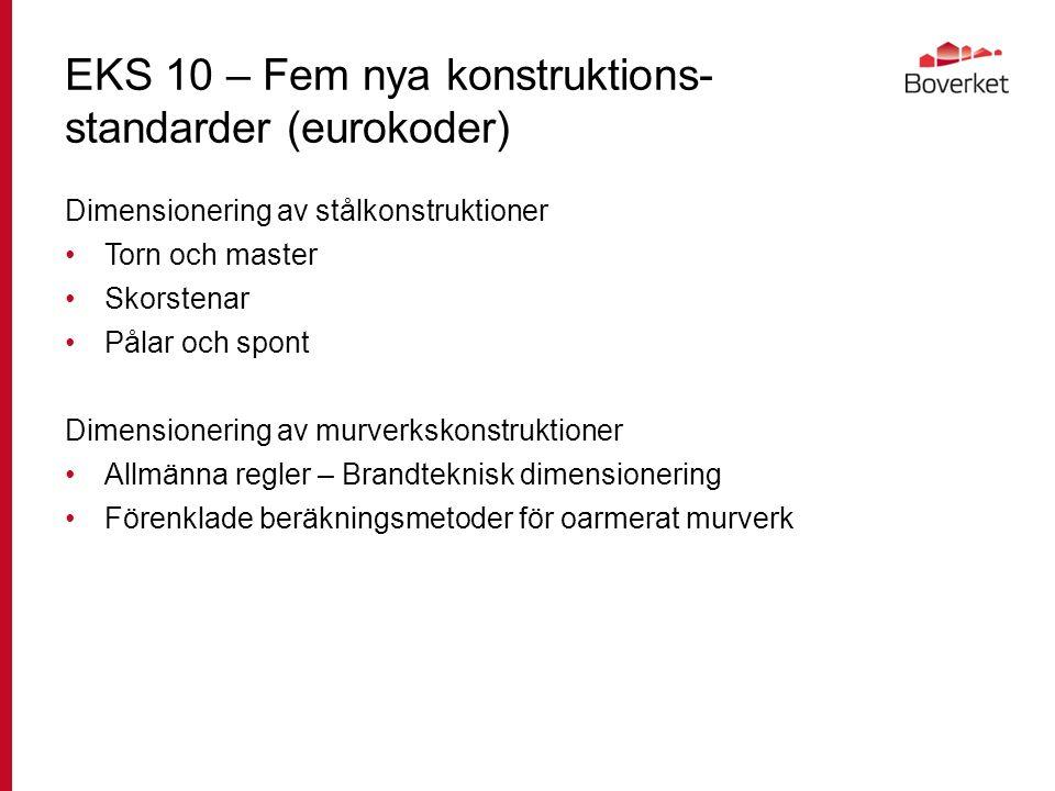 EKS 10 – Fem nya konstruktions- standarder (eurokoder) Dimensionering av stålkonstruktioner Torn och master Skorstenar Pålar och spont Dimensionering av murverkskonstruktioner Allmänna regler – Brandteknisk dimensionering Förenklade beräkningsmetoder för oarmerat murverk