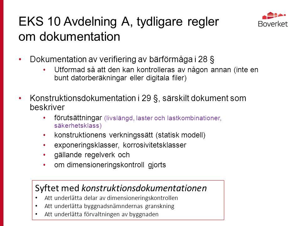 EKS 10 Avdelning A, tydligare regler om dokumentation Dokumentation av verifiering av bärförmåga i 28 § Utformad så att den kan kontrolleras av någon annan (inte en bunt datorberäkningar eller digitala filer) Konstruktionsdokumentation i 29 §, särskilt dokument som beskriver förutsättningar (livslängd, laster och lastkombinationer, säkerhetsklass) konstruktionens verkningssätt (statisk modell) exponeringsklasser, korrosivitetsklasser gällande regelverk och om dimensioneringskontroll gjorts Syftet med konstruktionsdokumentationen Att underlätta delar av dimensioneringskontrollen Att underlätta byggnadsnämndernas granskning Att underlätta förvaltningen av byggnaden