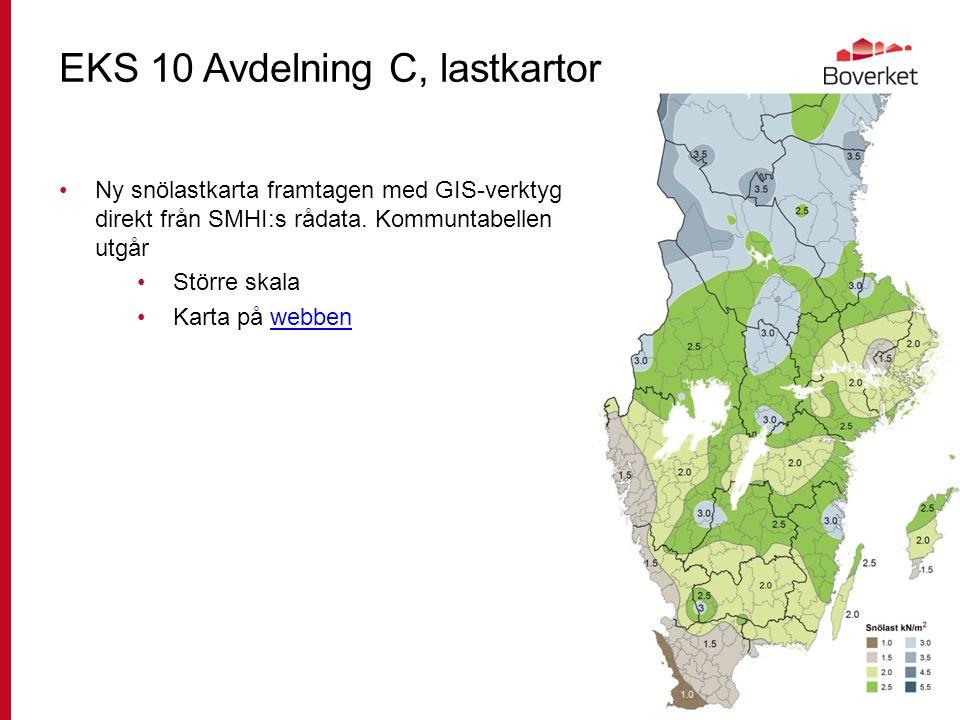 EKS 10 Avdelning C, lastkartor Ny snölastkarta framtagen med GIS-verktyg direkt från SMHI:s rådata.
