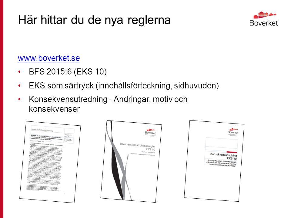 Här hittar du de nya reglerna www.boverket.se BFS 2015:6 (EKS 10) EKS som särtryck (innehållsförteckning, sidhuvuden) Konsekvensutredning - Ändringar, motiv och konsekvenser